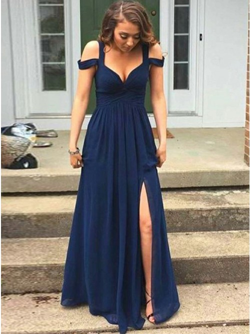 A-Line Straps Floor-Length Navy Blue Chiffon Prom Dress , for .