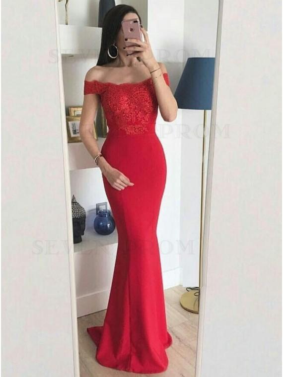 Buy Mermaid Off-the-Shoulder Floor-Length Red Formal Dress with .