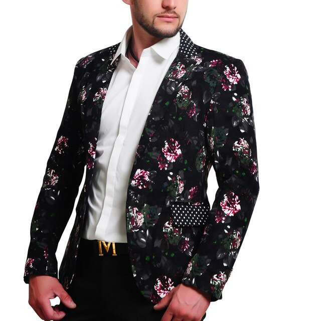 Loldeal 2018 Mens Floral Blazer Flower Print Blazers For Men Large .