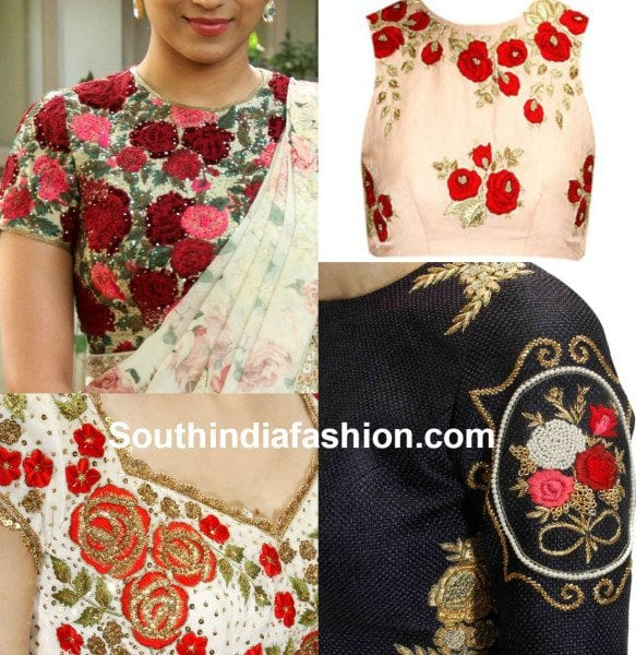 Blouse Designs with Floral Embroidery – South India Fashi