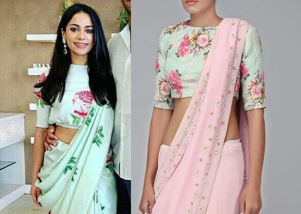 20+ Latest Floral Printed Saree Blouse Designs to try this year .