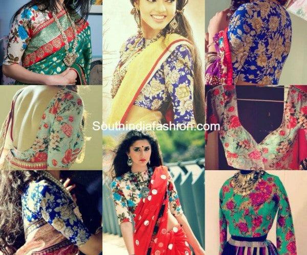Beautiful Floral Print Blouse Designs - South India Fashi