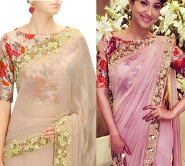 Beautiful Floral Print Blouse Designs | Saree blouse designs .