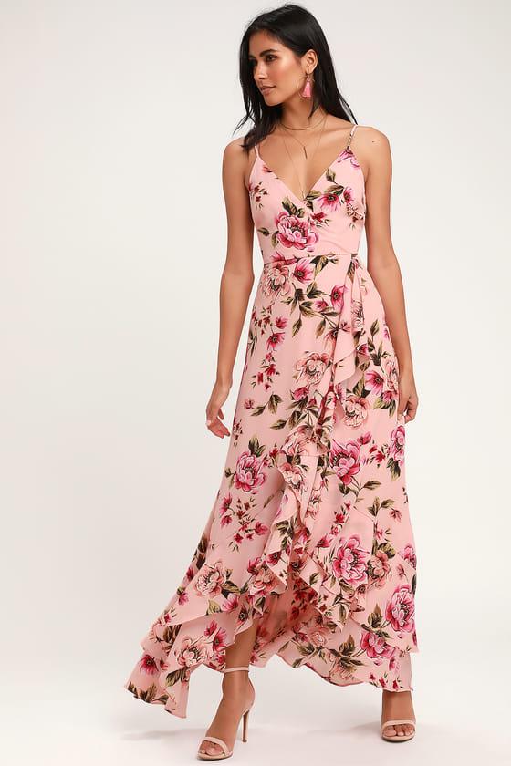 Pretty Pink Floral Print Dress - Blush Pink Tiered Ruffle Dre