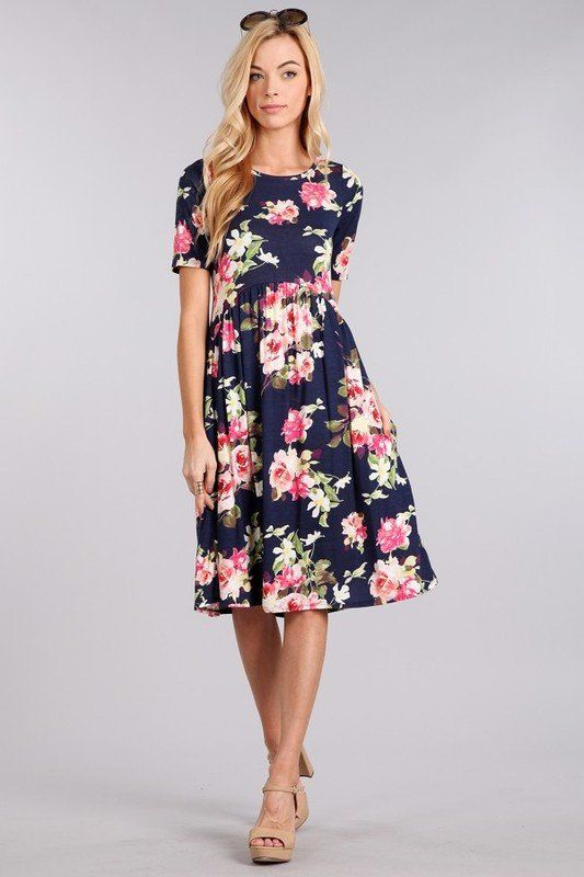 The Madeline- Modest floral dress. Perfect for a bridesmaid dress .