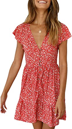 GAMISOTE Womens Floral Print Mini Dress V Neck Short Sleeve Boho .