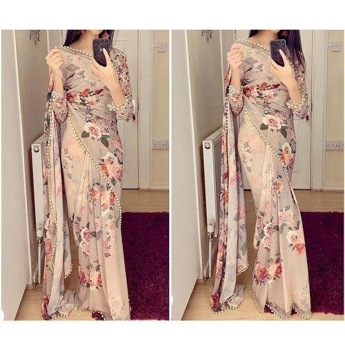 Cotton Ladies Floral Print Designer Saree, 5.5 M (separate Blouse .