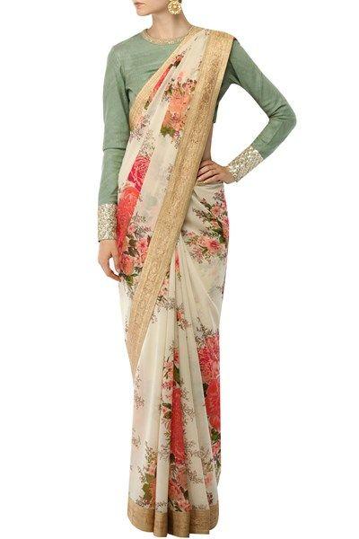 Sabyasachi indian designer floral printed sarees online .