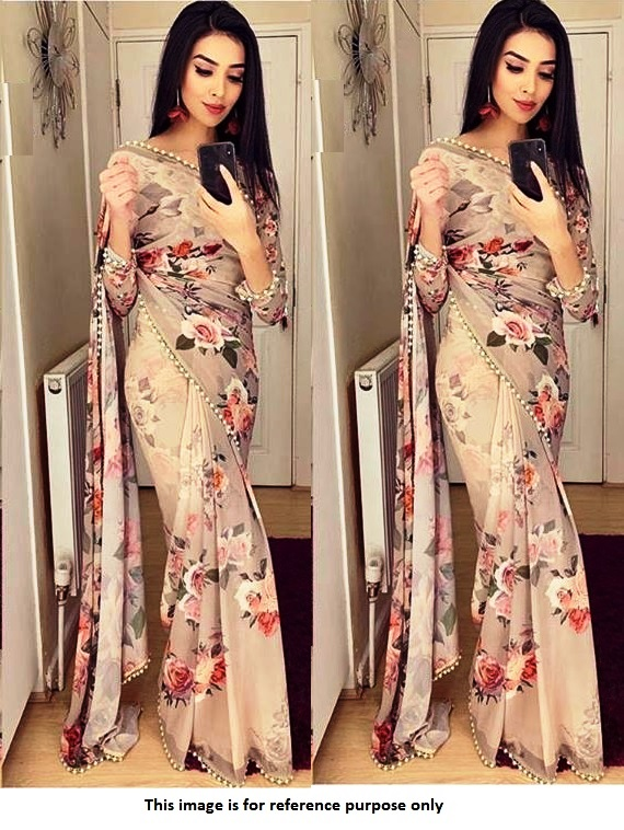 Buy Bollywood Model Georgette Dusty brown floral sareein UK, USA .