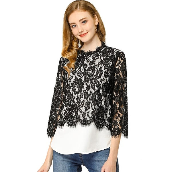 Shop Allegra K Women's Lace Floral Tops Ruffle See-Through Blouse .