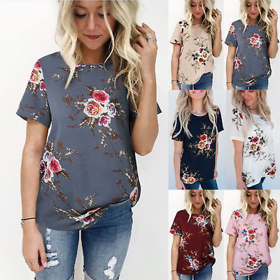 Summer Womens Lady Floral Tops Blouse Ladies Short Sleeve T-Shirt .