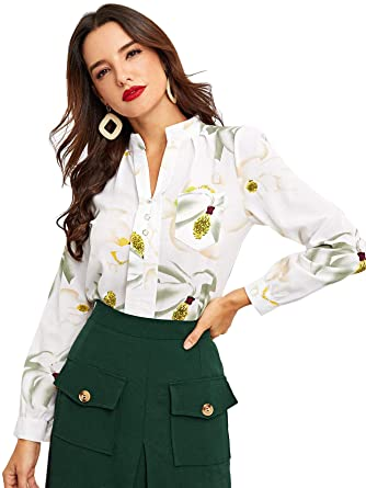 SheIn Women's Casual V Neck Long Sleeve Floral Tops Button Down .