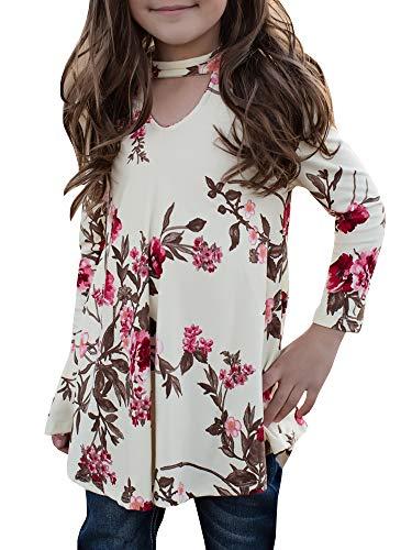 KunLunMen Girls T Shirts Cute Floral Tops Swing Tunic Blouses Kids .