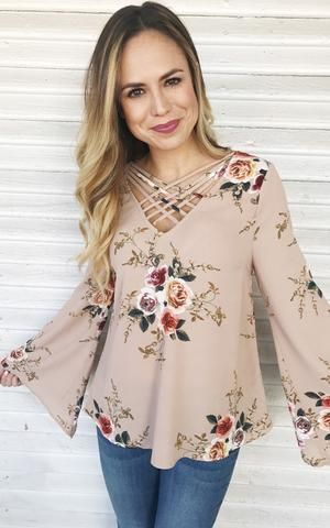 Mary-Taupe floral bell sleeve dressy top. (With images) | Dressy .
