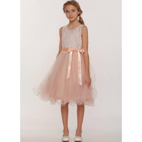 Girls Blush Dresses - Soft Mesh Dress Ages 4 -