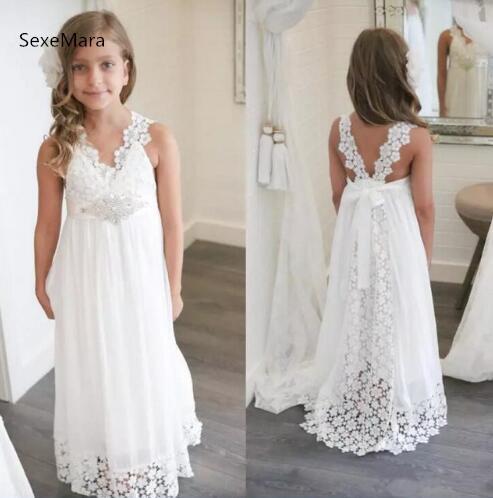 New Arrival White Ivory Boho Flower Girl Dresses For Weddings V .