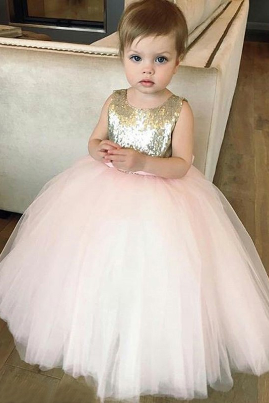 Cute Gold Sequins and Pink Tulle Flower Girl Dress with B