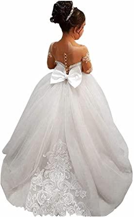 Amazon.com: GZY White Ivory Lace Long Sleeve Flower Girl Dresses .