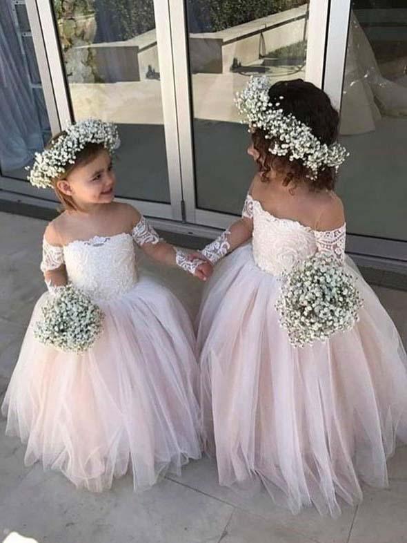 Ivory Ball Gown Flower Girl Dresses Lace Long Sleeve Flower Girl .