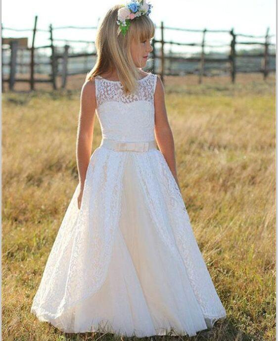 Cute Ivory Long Flower Girl Dresses,Tulle Lace Flower Girl Dresses .