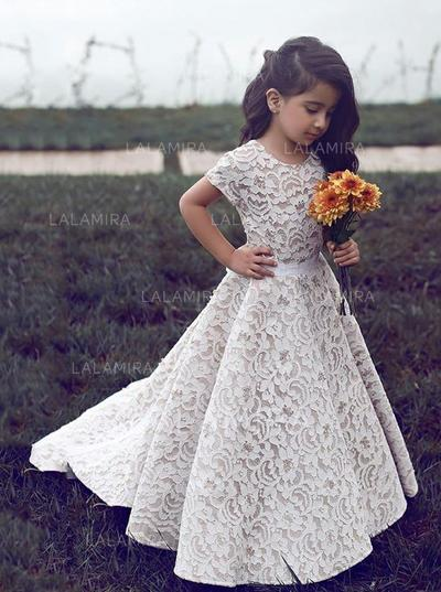 Princess Scoop Neck A-Line/Princess Flower Girl Dresses Sweep .