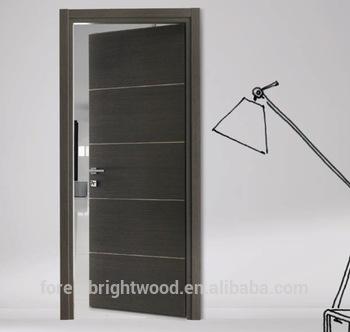 Flush wood door design with aluminum strips decoration, View flush .