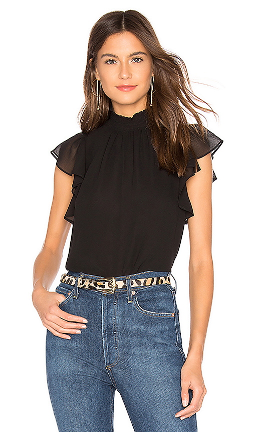 1. STATE Flutter Sleeve Top in Rich Black | REVOL