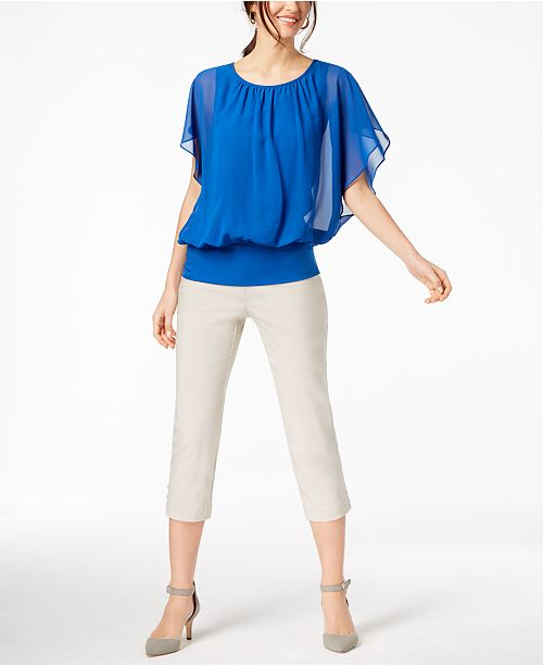 JM Collection Flutter-Sleeve Top & Pull-On Capri Pants, Created .