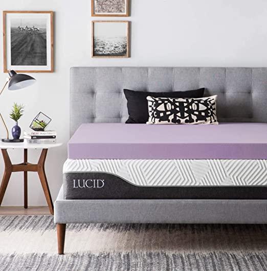 Amazon.com: LUCID Foam Mattress Topper - Ventilated Design, 4 Inch .