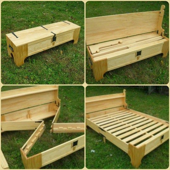 DIY Folding Bed Into Bench | Woodworking projects diy, Diy bench .