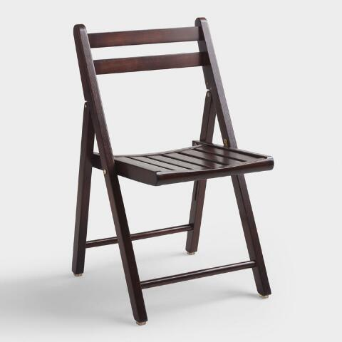 Espresso Brown Wood Folding Chairs Set Of 4 | World Mark