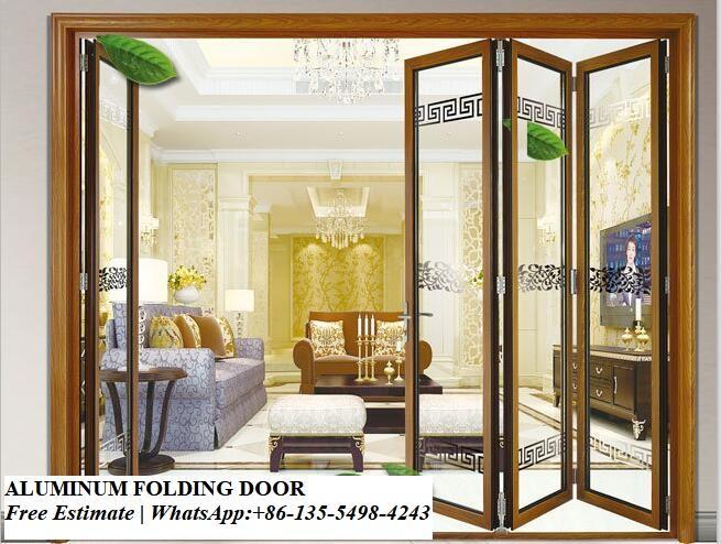 Decorative grill design aluminium glass folding doors exterior .