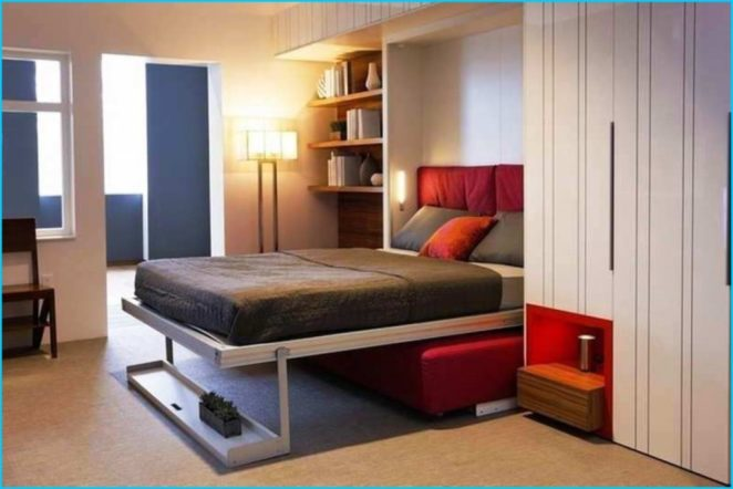 Tips for small bedroom: wall mounted bed, bed in a closet, folding .