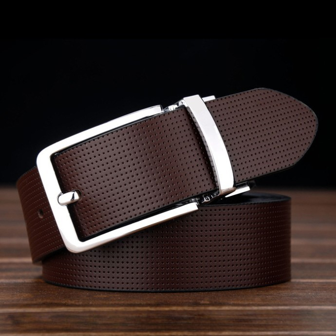 New 2014 Two side Color Brown Black Dots Genuine Leather Belt .