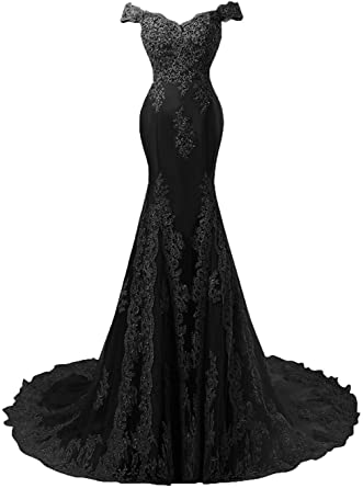 DINGZAN Vintage Cap Sleeves Evening Gowns Mermaid Lace Applique .
