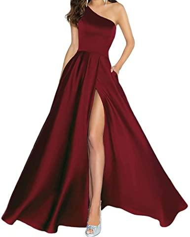 Prom Dresses for Women One-Shoulder Satin Slit Formal Evening .