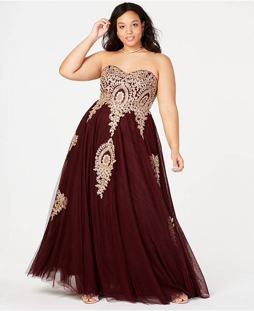 Say Yes to the Prom Trendy Plus Size Embroidered Strapless Gown .