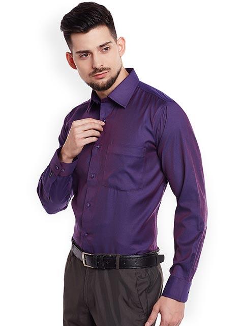 DENNISON Men Purple Comfort Slim Fit Solid Formal Shirt - KAPADAA.C