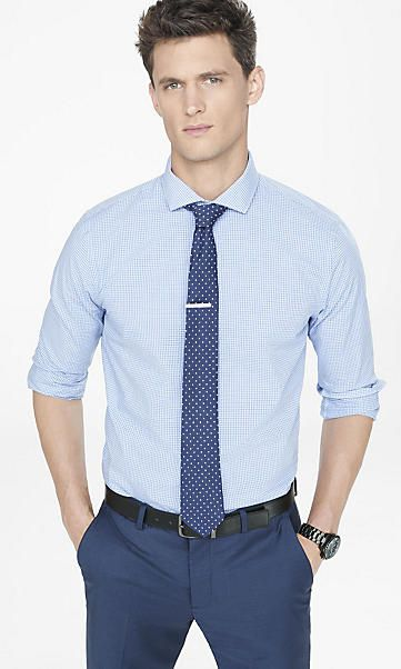 tall fitted mini checked shirt (With images) | Business casual men .