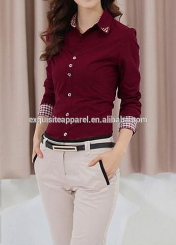 Custom Business Shirts Womens/100% Cotton Ladies Formal Shirt .
