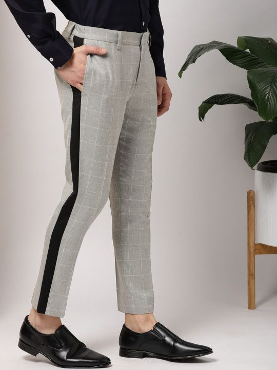 Shop INVICTUS Men Grey Slim Fit Checked Formal Trousers from .