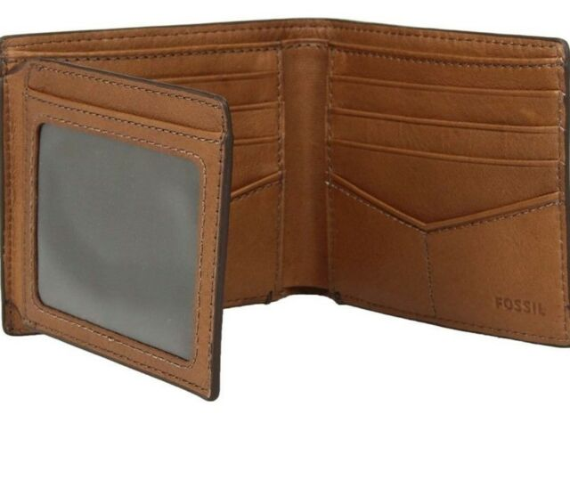 Fossil Cody Bifold Flip ID Wallet RFID Perforated Brown Leather .