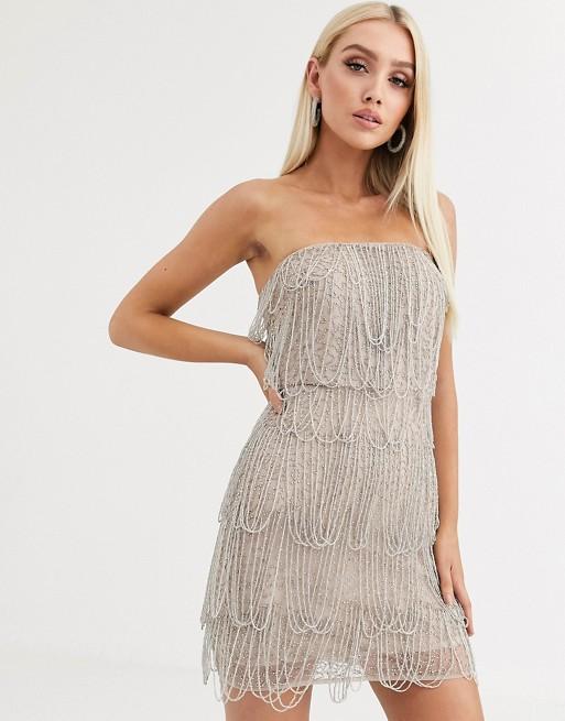 ASOS DESIGN loop embellished fringe mini dress | AS