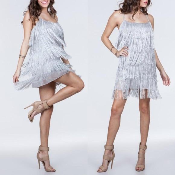 Dresses | Silver Fringe Dress Party Ready | Poshma