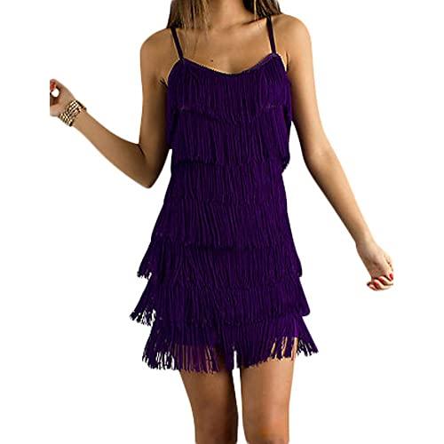 Purple Fringe Dress: Amazon.c
