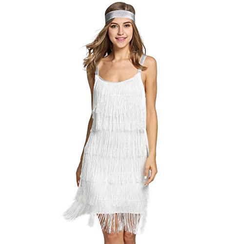 White Fringe Dress: Amazon.c