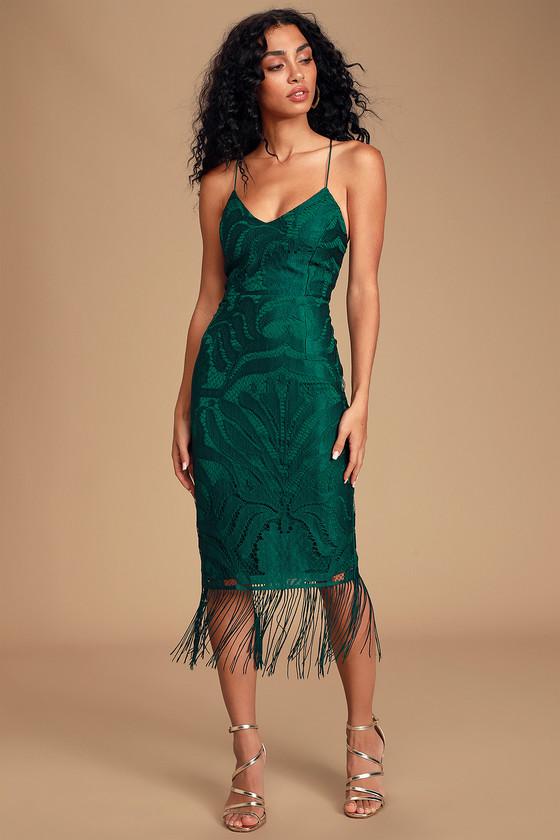 Sexy Green Lace Dress - Lace-Up Midi Dress - Fringe Midi Dre