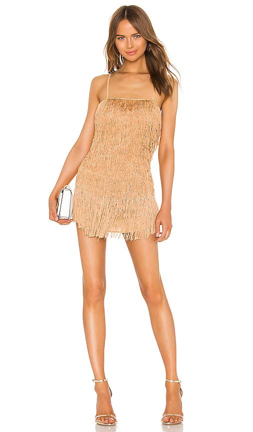 NBD Sunrise Fringe Mini Dress in Champagne Nude | REVOL