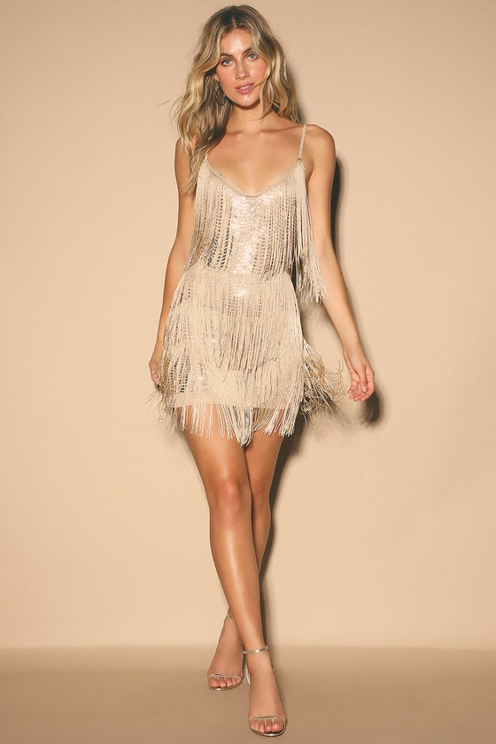 Sexy Sequin Dress - Champagne Sequin Dress - Sequin Fringe Dre