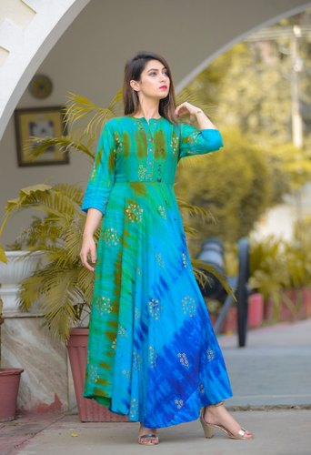 RAYON Party Wear Designer Frock Style Kurtis, Machine wash, Age .